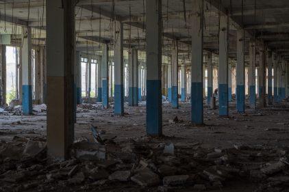 Der Rest einer einst florierenden Textilfabrik